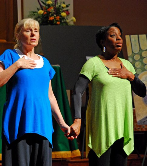 IWS Students Domini Boling and Marsha Staples lead a segment of morning chapel